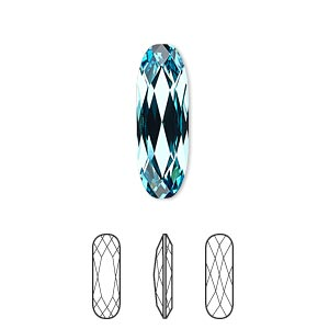 Embellishment, Swarovski® Crystal Rhinestone, Crystal Passions®, Light Turquoise, Foil Back, 21x7mm Faceted Long Classical Oval Fancy Stone (4161). Sold Per Pkg 6 4161