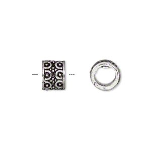 Bead, Antique Silver-plated Brass, 9x7mm Fancy Round Tube, 5.5mm Hole. Sold Per Pkg 6