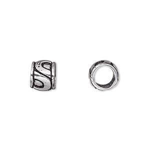 "Bead, Antique Silver-plated Brass, 9x7mm Barrel ""U""-shape Design, 6mm Hole. Sold Per Pkg 6"