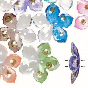 Button, Acrylic, Clear/white/multicolored Gold-colored Glitter, 40mm Single-sided Flower Painted Dots. Sold Per Pkg 12