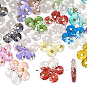 Bead, Acrylic, Clear / White / Multicolored Gold-colored Glitter, 31mm Single-sided Flower Painted Dots. Sold Per Pkg 24
