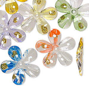 Bead, Acrylic, Assorted Colors Gold-colored Glitter, 30x30mm Flower Painted Design. Sold Per Pkg 24