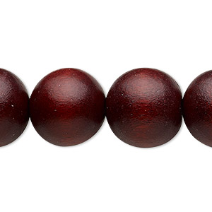 Bead, Wood (dyed / Waxed), Dark Brown, 16mm Round 2-2.5mm Hole. Sold Per 16-inch Strand