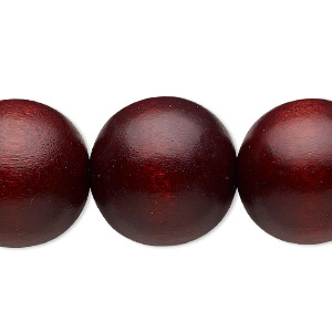 Bead, Wood (dyed / Waxed), Dark Brown, 19-20mm Round 2.5-3mm Hole. Sold Per 16-inch Strand