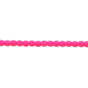 Bead, Preciosa, Czech Painted Fire-polished Glass, Matte Neon Pink, 3mm Faceted Round. Sold Per 8-inch Strand, Approximately 65 Beads 152-19001-17-3mm-02010-25123