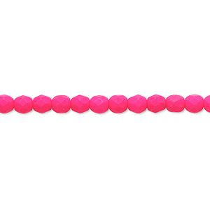Bead, Preciosa, Czech Painted Fire-polished Glass, Matte Neon Pink, 4mm Faceted Round. Sold Per 8-inch Strand, Approximately 50 Beads 152-19001-17-4mm-02010-25123