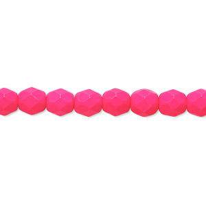 Bead, Preciosa, Czech Painted Fire-polished Glass, Matte Neon Pink, 6mm Faceted Round. Sold Per 8-inch Strand, Approximately 35 Beads 152-19001-17-6mm-02010-25123