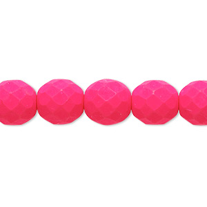 Bead, Preciosa, Czech Painted Fire-polished Glass, Matte Neon Pink, 10mm Faceted Round. Sold Per 8-inch Strand, Approximately 20 Beads 152-19001-17-10mm-02010-25123