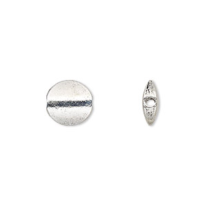 "Bead, Antique Silver-plated ""pewter"" (zinc-based Alloy), 10mm Flat Round. Sold Per 4-inch Strand, Approximately 10 Beads"