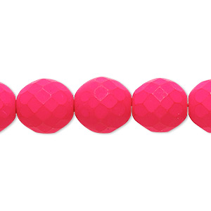 Bead, Preciosa, Czech Painted Fire-polished Glass, Matte Neon Pink, 12mm Faceted Round. Sold Per 8-inch Strand, Approximately 15 Beads 152-19001-17-12mm-02010-25123