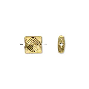 "Bead, Antiqued Gold-finished ""pewter"" (zinc-based Alloy), 8.5x8.5mm Double-sided Square Diamond Design. Sold Per 4-inch Strand"