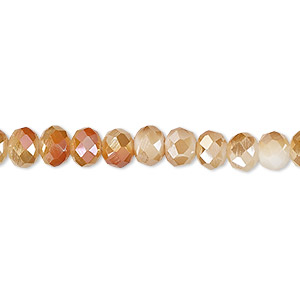 Bead, Celestial Crystal®, 48-facet, Opaque White Half-coat Orange AB, 6x4mm Faceted Rondelle. Sold Per 16-inch Strand A1396GL