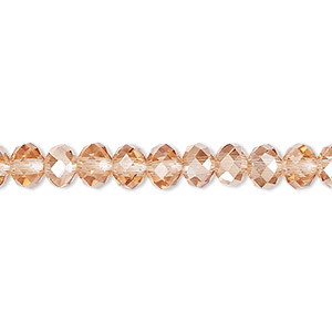 Bead, Celestial Crystal®, Glass, 48-facet, Transparent Light Pink Half-coat Light Citrine, 6x4mm Faceted Rondelle. Sold Per 16-inch Strand A1398GL