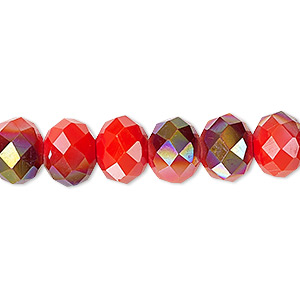 Bead, Celestial Crystal®, 48-facet, Opaque Orange Half-coat Smoky AB, 10x8mm Faceted Rondelle. Sold Per 16-inch Strand A1402GL