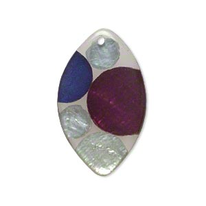 Focal, Resin Capiz Shell (assembled), Multicolored, 32x19mm Double-sided Marquise Circle Design. Sold Individually