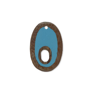 Drop, Resin Wood (assembled), Turquoise Blue, 24x16mm Double-sided Oval 7x3.5mm Hole. Sold Individually