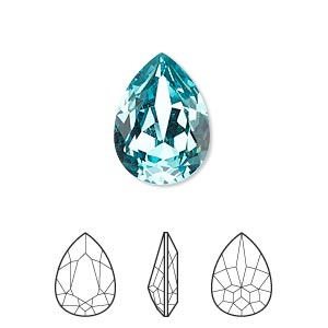 Embellishment, Swarovski® Crystal Rhinestone, Light Turquoise, Foil Back, 18x13mm Faceted Pear Fancy Stone (4320). Sold Per Pkg 48 4320
