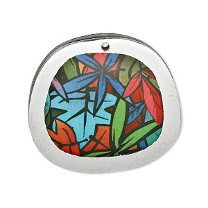 Focal, Resin Aluminum, Multicolored, 32x29mm Double-sided Freeform Oval Leaf Design. Sold Individually