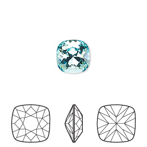 Embellishment, Swarovski® Crystal Rhinestone, Crystal Passions®, Light Turquoise, Foil Back, 10x10mm Faceted Cushion Fancy Stone (4470). Sold Individually 4470