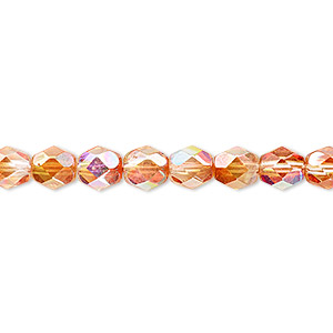 Bead, Czech Fire-polished Glass, Two-tone Clear AB Apricot Medium, 6mm Faceted Round. Sold Per 16-inch Strand 152-19001-00-6mm-00030-98535