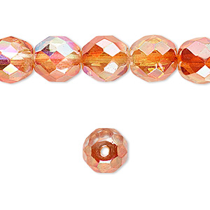 Bead, Czech Fire-polished Glass, Two-tone Clear AB Apricot Medium, 10mm Faceted Round. Sold Per 16-inch Strand 152-19001-00-10mm-00030-98535
