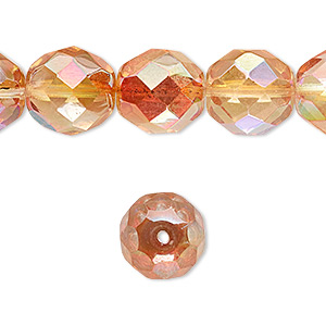 Bead, Czech Fire-polished Glass, Two-tone Clear AB Apricot Medium, 12mm Faceted Round. Sold Per 16-inch Strand 152-19001-00-12mm-00030-98535