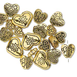 "Bead, Antique Gold-finished ""pewter"" (zinc-based Alloy), 8x7mm-16x12mm Assorted Double-sided Heart. Sold Per Pkg 20"