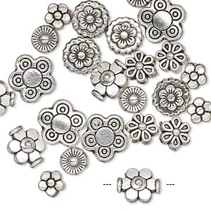 "Bead, Antique Silver-plated ""pewter"" (zinc-based Alloy), 5x5mm-10x10mm Assorted Flower. Sold Per Pkg 24"