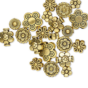 "Bead, Antique Gold-finished ""pewter"" (zinc-based Alloy), 5x5mm-10x10mm Assorted Flower. Sold Per Pkg 24"