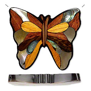 Focal, Multi-wood / Multi-shell / Resin (dyed / Assembled), Multicolored, 44x40 Single-sided Butterfly. Sold Individually