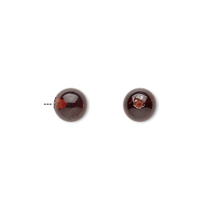 Bead, Garnet (natural), 6mm Half-drilled Round 0.4-1.4mm Hole, B Grade, Mohs Hardness 7 7-1/2. Sold Individually