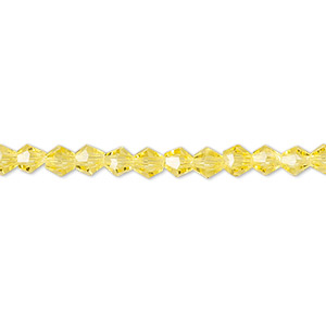 Bead, Celestial Crystal®, Glass, 16-facet, Transparent Yellow, 4mm Faceted Bicone. Sold Per 16-inch Strand A1668GL