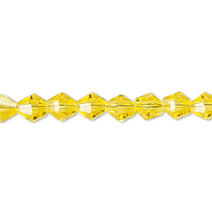 Bead, Celestial Crystal®, 16-facet, Transparent Yellow, 6mm Faceted Bicone. Sold Per 16-inch Strand A1672GL