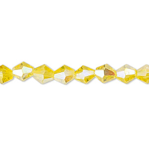 Bead, Celestial Crystal®, Glass, 16-facet, Transparent Yellow AB, 6mm Faceted Bicone. Sold Per 16-inch Strand A1673GL
