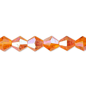 Bead, Celestial Crystal®, 16-facet, Transparent Orange AB, 8mm Faceted Bicone. Sold Per 16-inch Strand A1675GL