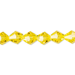 Bead, Celestial Crystal®, Glass, 16-facet, Transparent Yellow, 8mm Faceted Bicone. Sold Per 16-inch Strand A1676GL