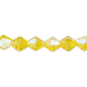 Bead, Celestial Crystal®, Glass, 16-facet, Transparent Yellow AB, 8mm Faceted Bicone. Sold Per 16-inch Strand A1677GL