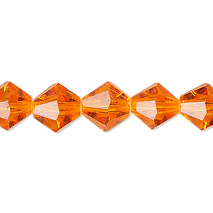 Bead, Celestial Crystal®, 16-facet, Transparent Orange, 10mm Faceted Bicone. Sold Per 16-inch Strand A1678GL