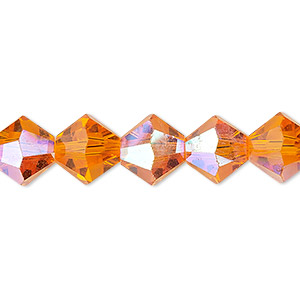 Bead, Celestial Crystal®, Glass, 16-facet, Transparent Orange AB, 10mm Faceted Bicone. Sold Per 16-inch Strand A1679GL