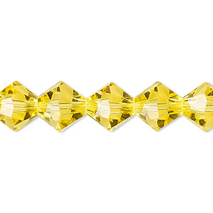 Bead, Celestial Crystal®, 16-facet, Transparent Yellow, 10mm Faceted Bicone. Sold Per 16-inch Strand A1680GL