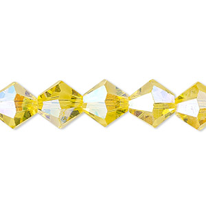 Bead, Celestial Crystal®, Glass, 16-facet, Transparent Yellow AB, 10mm Faceted Bicone. Sold Per 16-inch Strand A1681GL