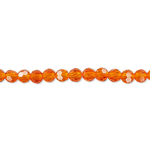 Bead, Celestial Crystal®, 32-facet, Transparent Orange, 4mm Faceted Round. Sold Per 16-inch Strand A1682GL