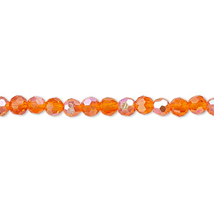Bead, Celestial Crystal®, Glass, 32-facet, Transparent Orange AB, 4mm Faceted Round. Sold Per 16-inch Strand A1683GL
