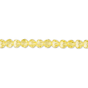 Bead, Celestial Crystal®, 32-facet, Transparent Yellow, 4mm Faceted Round. Sold Per 16-inch Strand A1684GL
