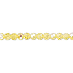 Bead, Celestial Crystal®, Glass, 32-facet, Transparent Yellow AB, 4mm Faceted Round. Sold Per 16-inch Strand A1685GL