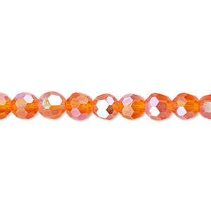 Bead, Celestial Crystal®, Glass, 32-facet, Transparent Orange AB, 6mm Faceted Round. Sold Per 16-inch Strand A1687GL