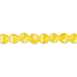 Bead, Celestial Crystal®, 32-facet, Transparent Yellow, 6mm Faceted Round. Sold Per 16-inch Strand A1688GL