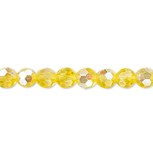 Bead, Celestial Crystal®, Glass, 32-facet, Transparent Yellow AB, 6mm Faceted Round. Sold Per 16-inch Strand A1689GL