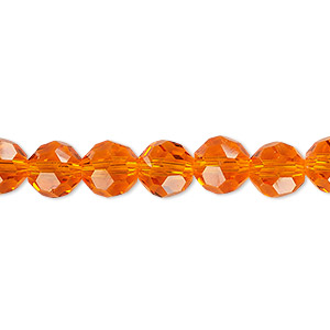 Bead, Celestial Crystal®, 32-facet, Transparent Orange, 8mm Faceted Round. Sold Per 16-inch Strand A1690GL