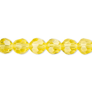 Bead, Celestial Crystal®, 32-facet, Transparent Yellow, 8mm Faceted Round. Sold Per 16-inch Strand A1692GL